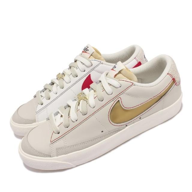 【NIKE 耐吉】休閒鞋 Blazer Low 77 PRM 男女鞋 經典款 可拆鞋帶扣 皮革 情侶穿搭 米白 金(DH4370-002)