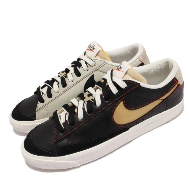 【NIKE 耐吉】休閒鞋 Blazer Low 77 PRM 男鞋 經典款 可拆鞋帶扣 皮革 球鞋穿搭 黑 金(DH4370-001)