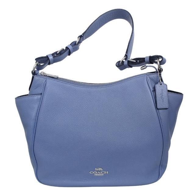 【COACH】荔枝紋全皮多口袋扇形肩背包(粉紫藍)