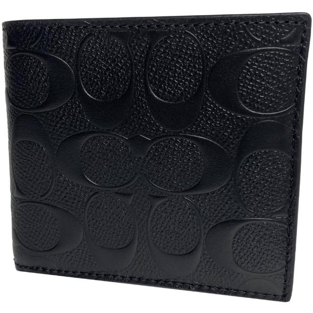 【COACH】立體浮標附零錢袋LOGO男短夾-潮流黑(coach 黑色 f75363 blk)
