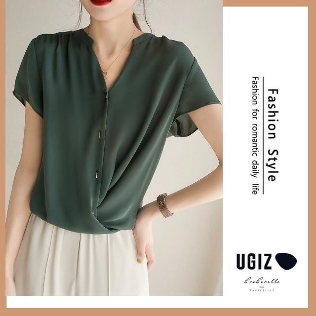 【UGIZ】修身氣質甜美溫柔純色繫繩V領造型上衣(M-XL)