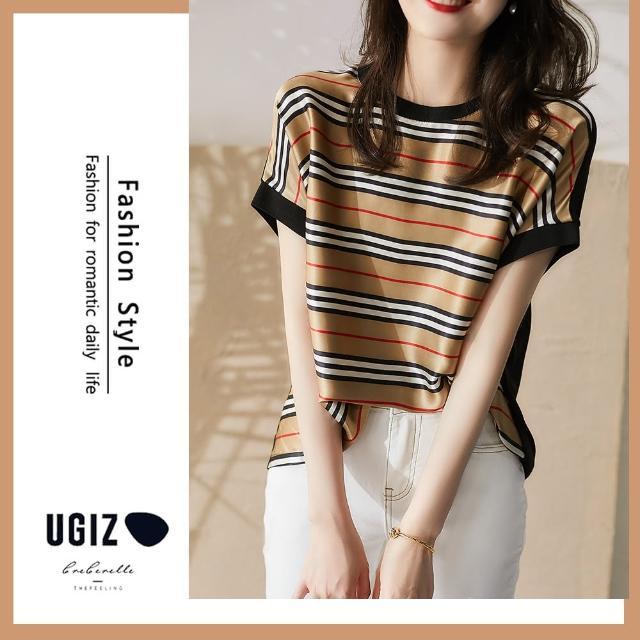 【UGIZ】修身復古氣質個性撞色條紋圓領造型上衣(M-XL)