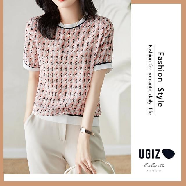 【UGIZ】修身氣質甜美溫柔純色格紋圓領造型上衣(M-XL)