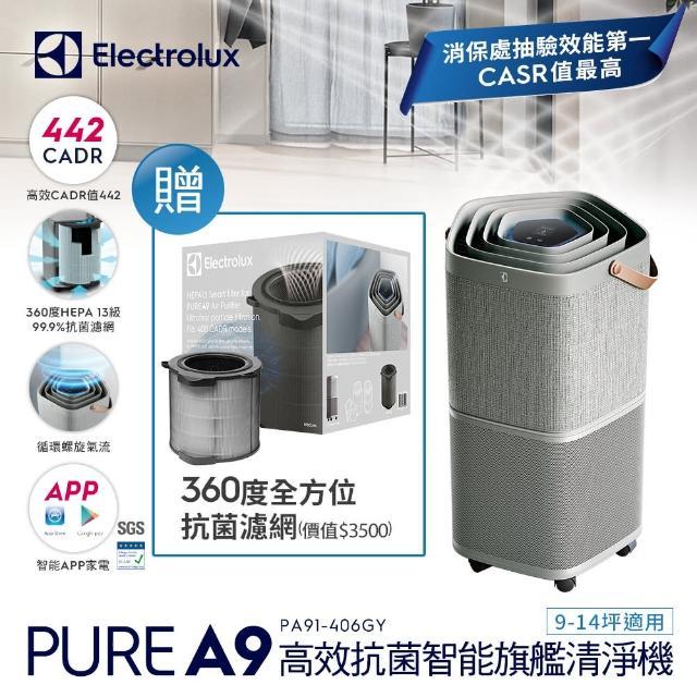 【Electrolux 伊萊克斯】高效抗菌智能旗艦清淨機Pure A9(PA91-406GY 優雅灰9-14坪)(贈專用濾網組)