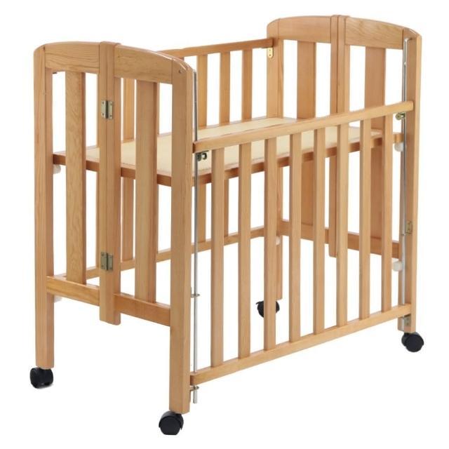 【台灣製造】實木製收折嬰兒中床附棉質床墊(折合床)