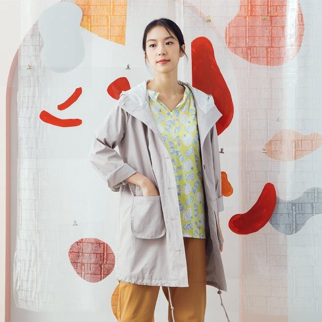 【MOSS CLUB】長版連帽下襬抽繩-女長袖外套 連帽 綠 灰(二色/魅力商品/版型寬鬆)
