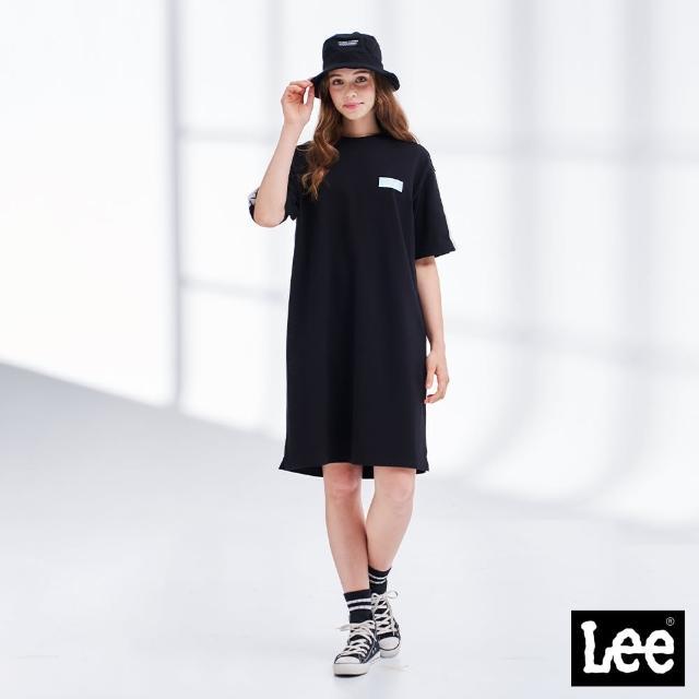 【Lee】居家時尚 圓領開衩 肩配條 女短袖休閒洋裝-氣質黑