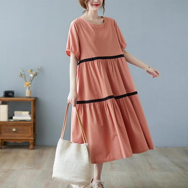 【Pure 衣櫃】寬鬆舒適日系簡約配色拼接洋裝(簡約/舒適/百搭/KDD-8914)