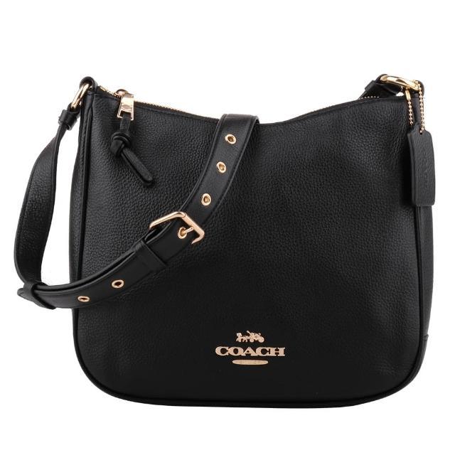 【COACH】金馬車荔枝紋皮革手提/肩斜背兩用包(黑色)