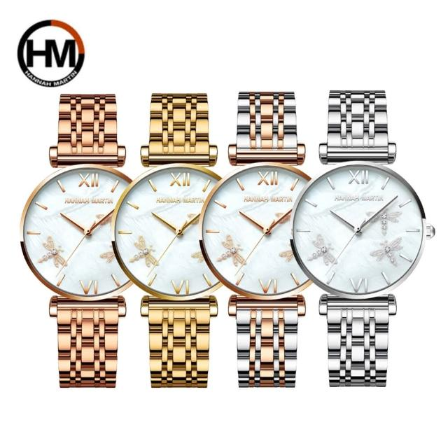 【HANNAH MARTIN】滿天星系列小蜻蜓珍珠貝不鏽鋼帶女錶(HM-1531-G)