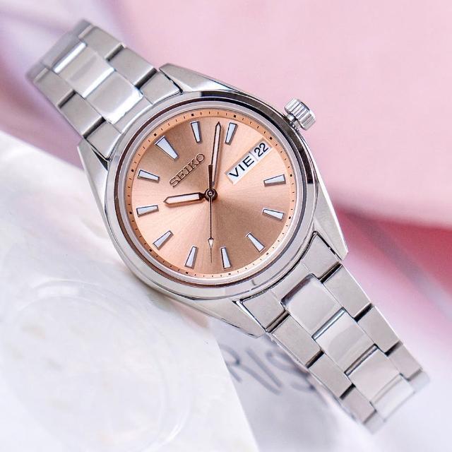 【SEIKO 精工】淑女優雅藍寶石不鏽鋼腕錶/銀x玫瑰金面 女錶(SUR351P1_M)