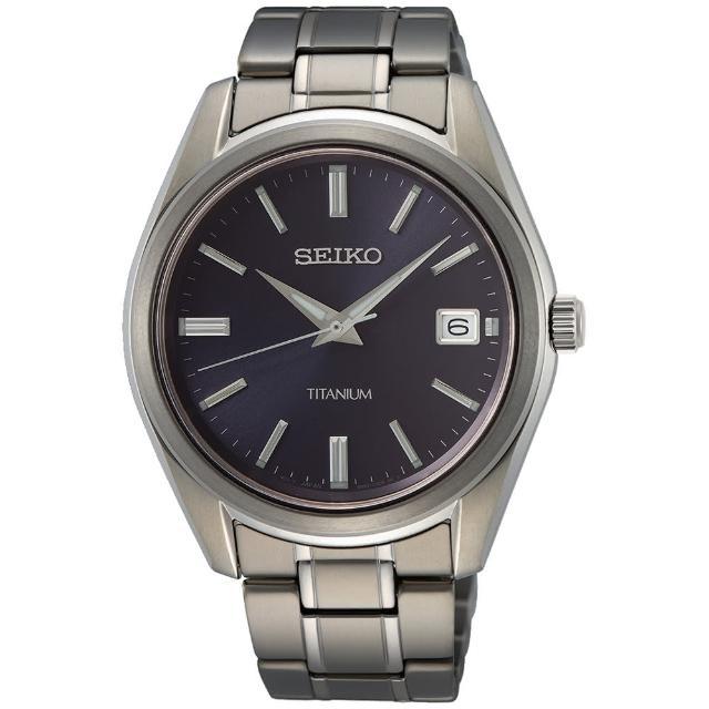 【SEIKO 精工】都會簡約鈦金屬大三針時尚男錶-銀x藍/40mm(SUR373P1/6N52-00B0V)