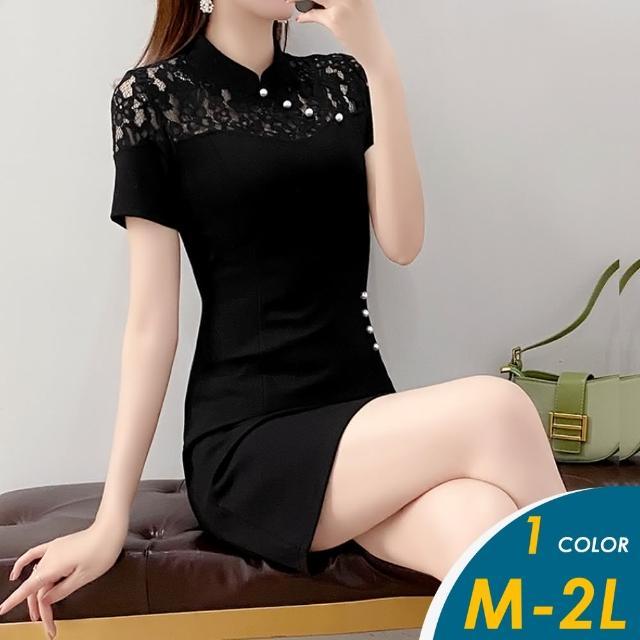 【CHACO】/現+預購/ 韓系性感蕾絲復古旗袍式短袖黑色連身裙#1682