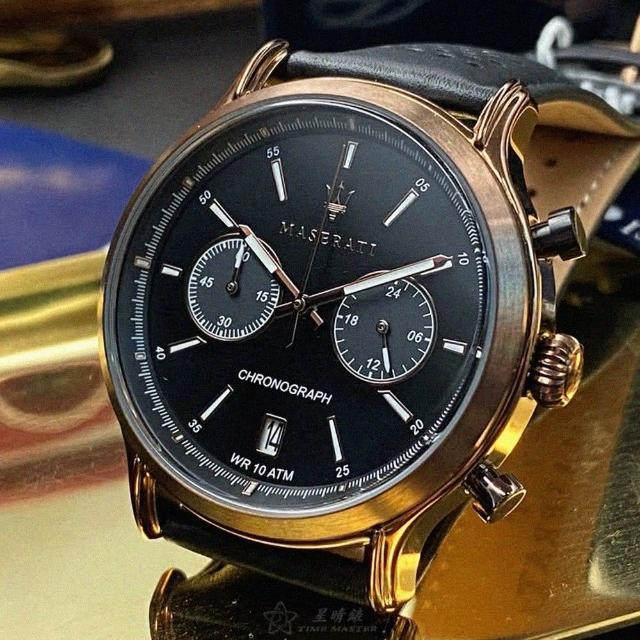 【MASERATI 瑪莎拉蒂】瑪莎拉蒂男女通用錶型號R8871638001(黑色錶面古銅色錶殼咖啡色真皮皮革錶帶款)