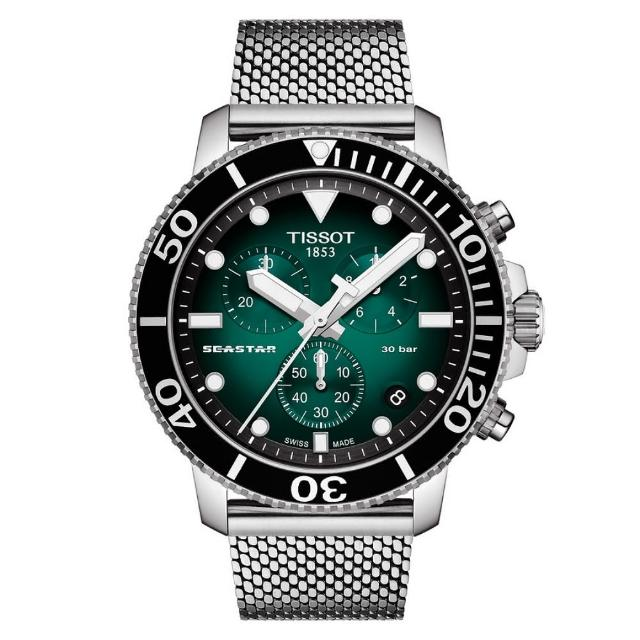 【TISSOT 天梭】SEASTAR1000海星系列 300m 漸層綠潛水計時腕錶 / 45.5mm(T1204171109100)