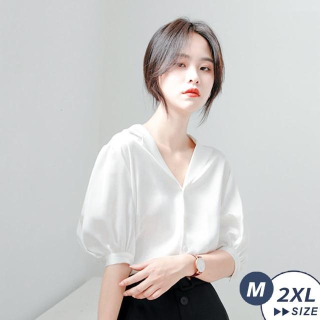 【LANNI 藍尼】現+預 素雅氣質純白泡泡袖襯衫(上衣/上班族/通勤/日常)