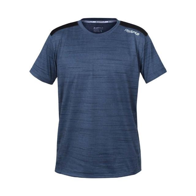 【HODARLA】男躍動剪接短袖圓領衫-台灣製 吸濕排汗 T恤 慢跑 路跑 反光 上衣 麻花藍(3162502)
