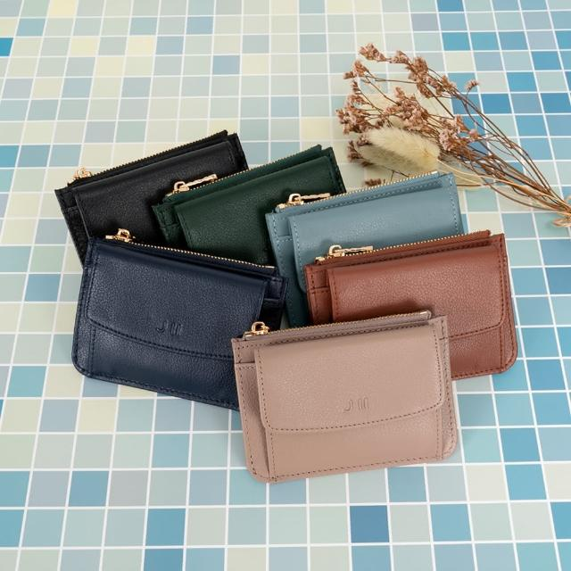 【J II】零錢包-口袋牛皮卡片零錢包-黑色-3102-1(零錢包)