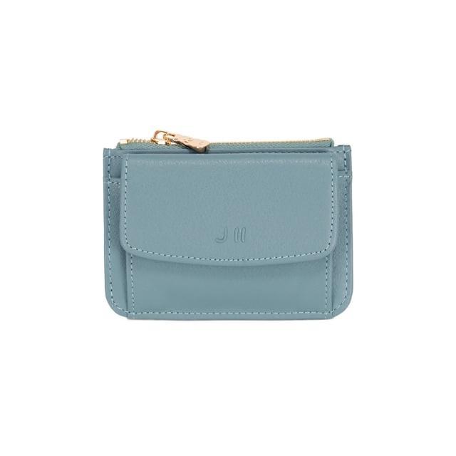 【J II】零錢包-口袋牛皮卡片零錢包-灰藍色-3102-4(零錢包)