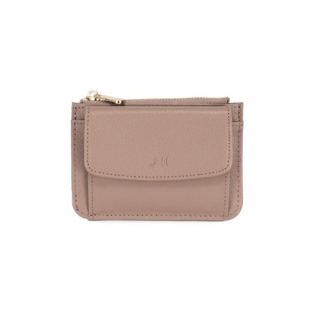 【J II】零錢包-口袋牛皮卡片零錢包-藕膚色-3102-15(零錢包)