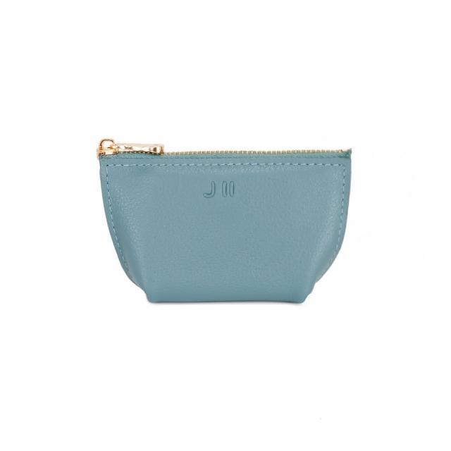 【J II】零錢包-輕巧牛皮零錢包-灰藍色-3101-4(零錢包)