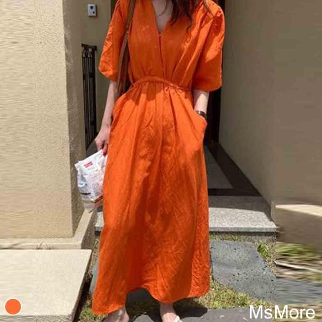 【MsMore】法式氣質度假風棉麻洋裝#110101現貨+預購(橘色)