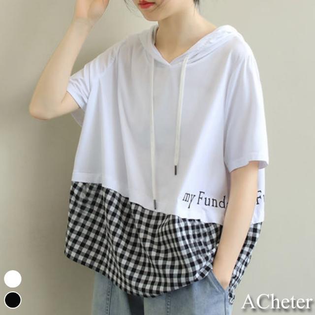 【ACheter】高含棉拼格紋字母印花連帽短袖連帽T恤上衣#110029現貨+預購(2色)