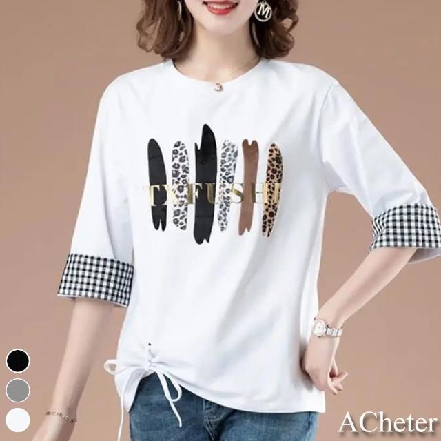 【ACheter】韓撞色格紋英文印花側綁帶五分袖圓領上衣#110028現貨+預購(3色)