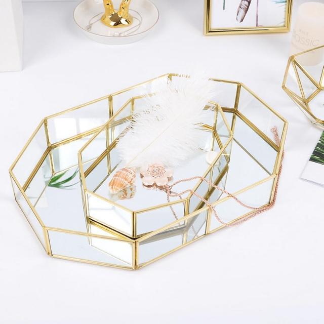 【居家收納】輕奢風 多邊形玻璃收納盤 金邊收納盤 玻璃收納盒 大號(收納盤)