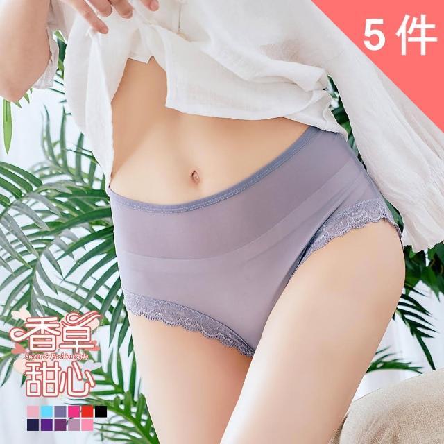 【香草甜心】超輕肌雪紡滾邊蕾絲性感透膚內褲 5件組(大尺碼 三角褲 中腰)
