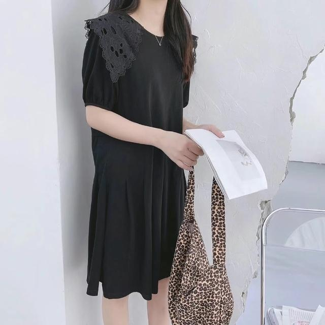 【BBHONEY】東大門款 布蕾絲領 黑色連身裙 洋裝(網美熱搜款)