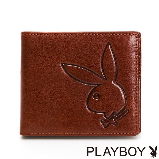 【PLAYBOY】中翻短夾 Mr. Rabbit系列(咖色)