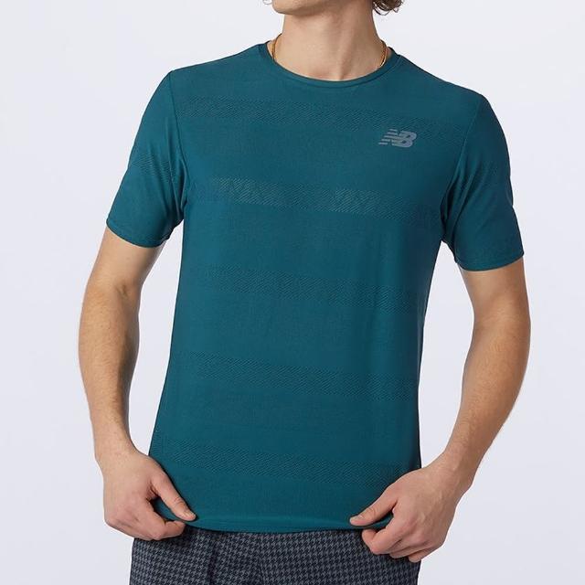 【NEW BALANCE】NB 上衣 男款 短袖上衣 運動 慢跑 吸排 藍綠 AMT13277MTL