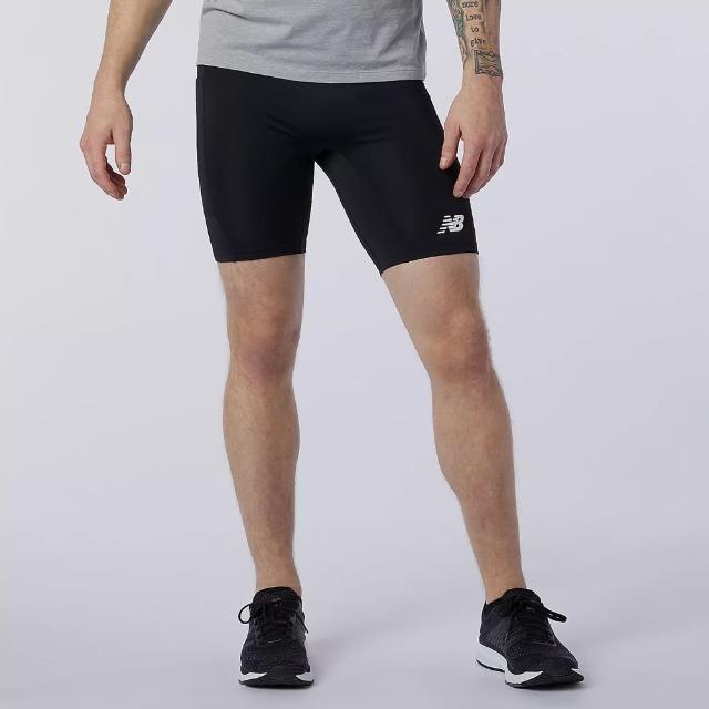 【NEW BALANCE】NB 短褲 男款 緊身短褲 運動 慢跑 訓練 黑 MS11249BK