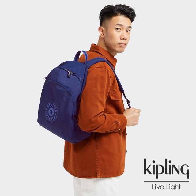 【KIPLING】知性星辰藍大容量簡約手提後背包-CURTIS L