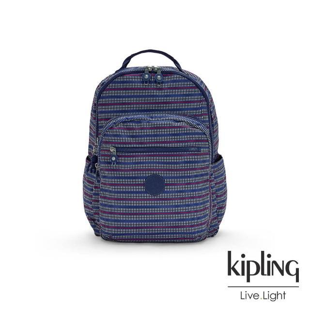 【KIPLING】圖騰拼接印花機能手提後背包-SEOUL