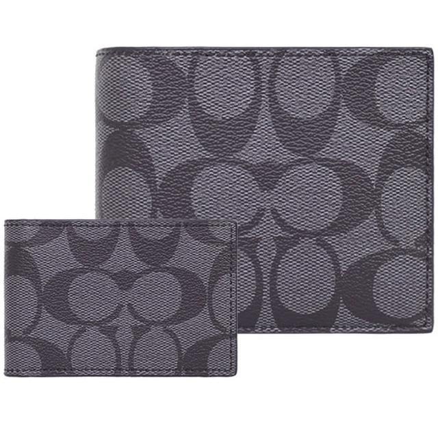 【COACH】黑灰C LOGO PVC八卡短夾+票卡夾