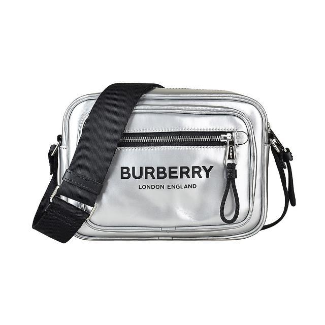 【BURBERRY 巴寶莉】BURBERRY黑字LOGO亮面帆布拉鍊斜背相機包(銀)