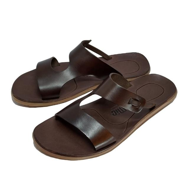 【皮克米】簍空平底真皮拖鞋(全牛皮)