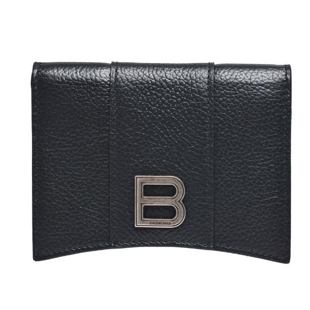 【Balenciaga 巴黎世家】經典字母LOGO粒面牛皮暗釦萬用卡片夾(黑640765-1IZHY-1000)