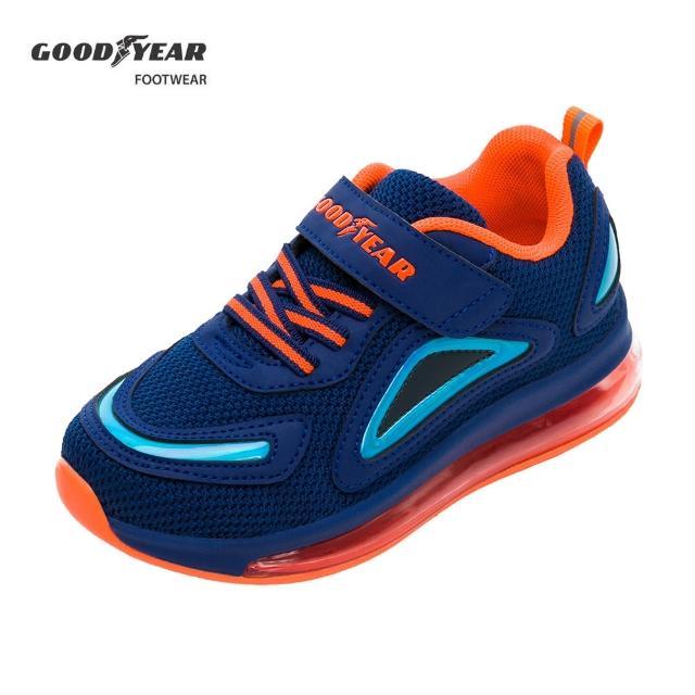 【GOODYEAR 固特異】全氣墊緩震運動鞋/中大童鞋 透氣 彈力 藍橘(酷炫暢跑GAKR18716)