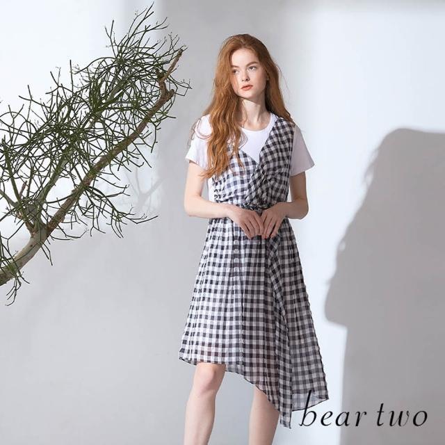 【bear two】仿兩件式格紋拼接洋裝(兩色)