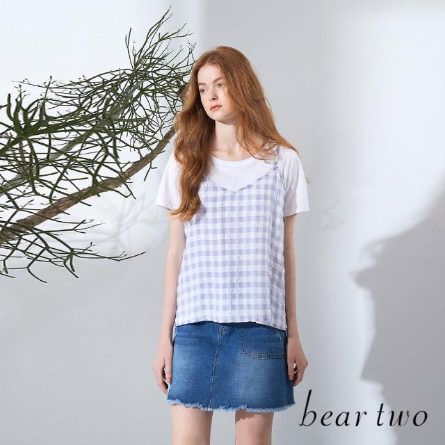 【bear two】兩件式格紋吊帶圓領T(兩色)