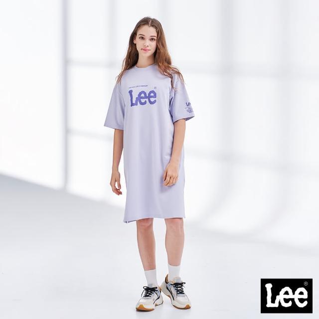 【Lee】居家經典Logo 印花開衩 女短袖休閒洋裝-迷霧紫