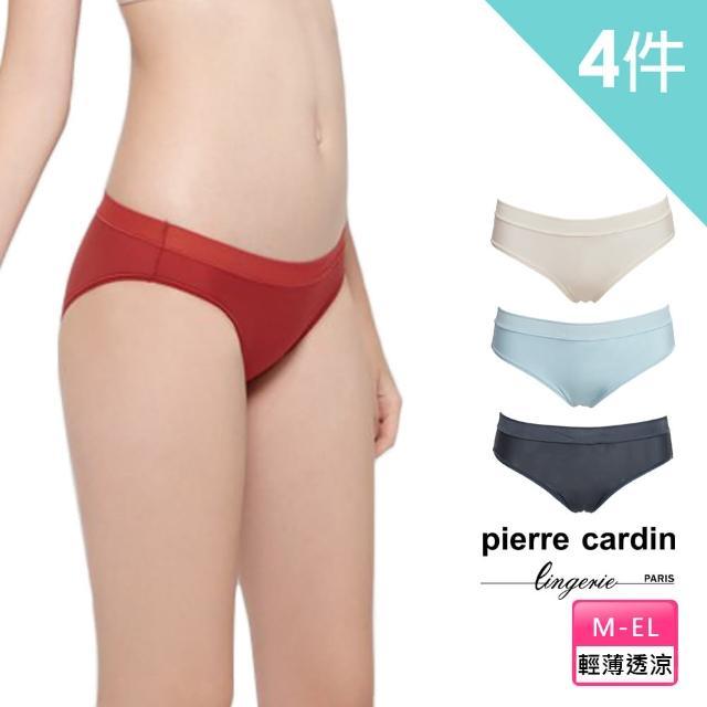 【pierre cardin 皮爾卡登女性內衣】輕薄透涼舒適低腰內褲(超值4件組)