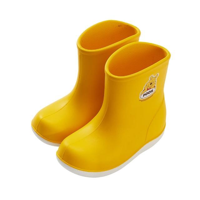 【Disney 迪士尼】迪士尼童鞋 小熊維尼 輕量防水雙色短筒雨鞋-黃(MIT台灣在地工廠製造)