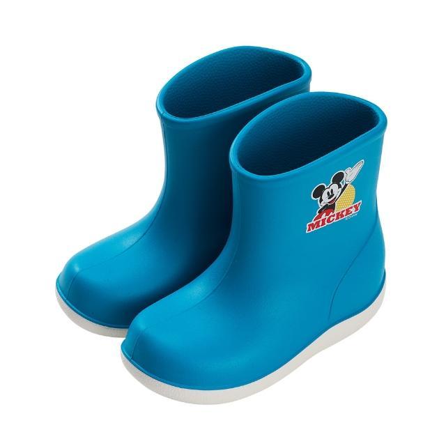 【Disney 迪士尼】迪士尼童鞋 米奇 輕量防水雙色短筒雨鞋-藍(MIT台灣在地工廠製造)