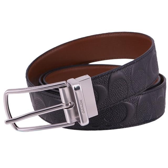 【COACH】經典 紳士風 浮雕 牛皮皮革 寬版 針扣 皮帶 腰帶(經典黑)