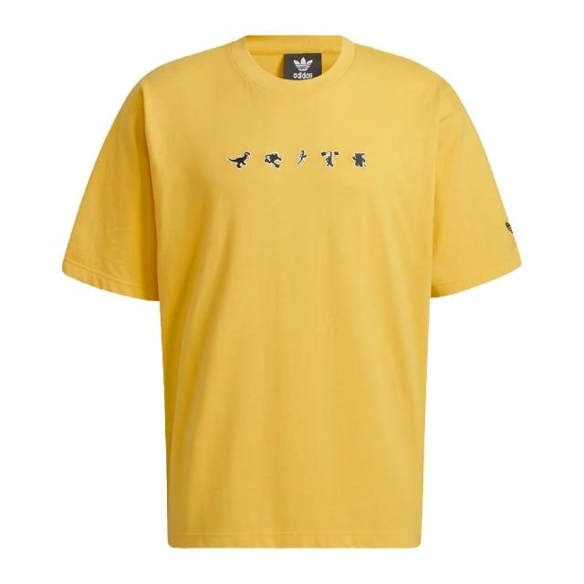 【adidas 愛迪達】Manga Short Sleeve T 男女款 愛迪達 情侶裝 PIXAR聯名 塗鴉 黃 黑(HC6926)