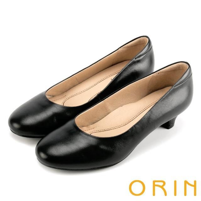 【ORIN】牛皮簡約素面 女 低跟鞋(黑色)
